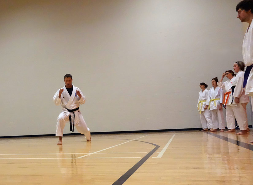 Guest instructor Sensei Tyler Deveau instructing a sparring class.