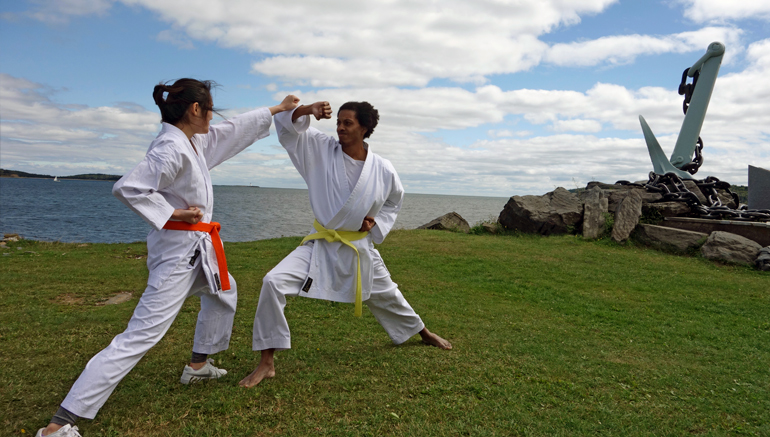 Practicing karate at Point Pleasant Park